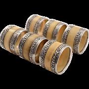 Victorian Set of 6 Silver & Bone Napkin Rings, 1891