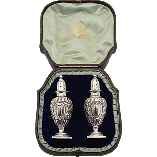 Cased Pair Victorian of Silver Pepperettes, London 1896