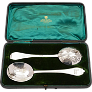 Pair of Edwardian Silver Serving Spoons, London 1905