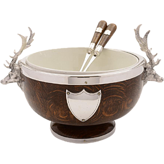 Victorian Oak and Silver Plated Salad Bowl and Servers, Circa 1890