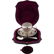 Victorian Christening Cup, Saucer & Spoon, Circa 1890