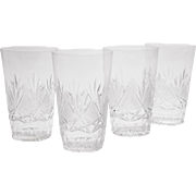 Set of 4 Cut Glass Pint Sized Tumblers, Circa 1910