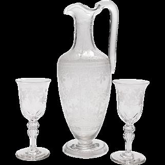 Victorian Glass Claret Jug, Circa 1880