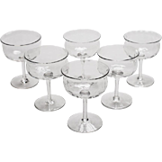 Set of 6 Edwardian Champagne Glasses, Circa 1910
