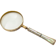 Edwardian Mother of Pearl Handled Magnifying Glass, Circa 1900