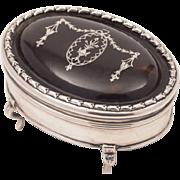 Edwardian Silver and Tortoise Shell Ring Box, London 1910