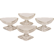 Set of 4 Edwardian Cut Glass Pedestal Salts, Circa 1905
