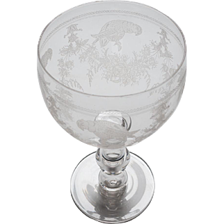 Etched Glass Punch Bowl, Circa 1890