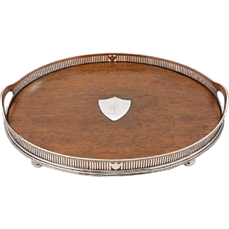 Oak and Plate Gallery Tray with Scottish Crest, Circa 1890