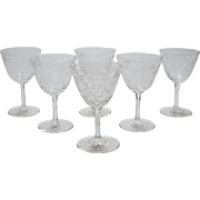 Set of 6 Edwardian Wine Glasses, Circa 1905