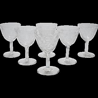 Set of 6 Edwardian Wine Glasses, Circa 1905