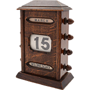 Edwardian Oak Desk Calendar, Circa 1900