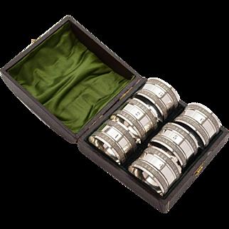 Cased Set of 6 Edwardian Napkin Rings, Circa 1905