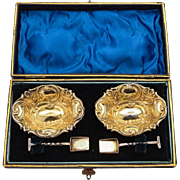Cased Pair of 20th Century Edwardian Silver Plated Salts, Circa 1905