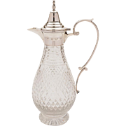 Vintage Silver and Cut Glass Claret Jug, Birmingham 1988