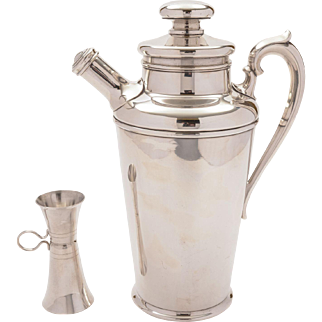 Art Deco Silver Plated Large Cocktail Shaker with Measure, Circa 1930