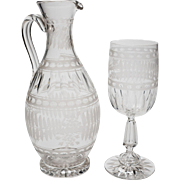 Victorian Glass Claret Jug and Goblet, Circa 1890