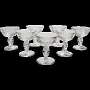 Set of 7 Champagne Glasses, Circa 1920