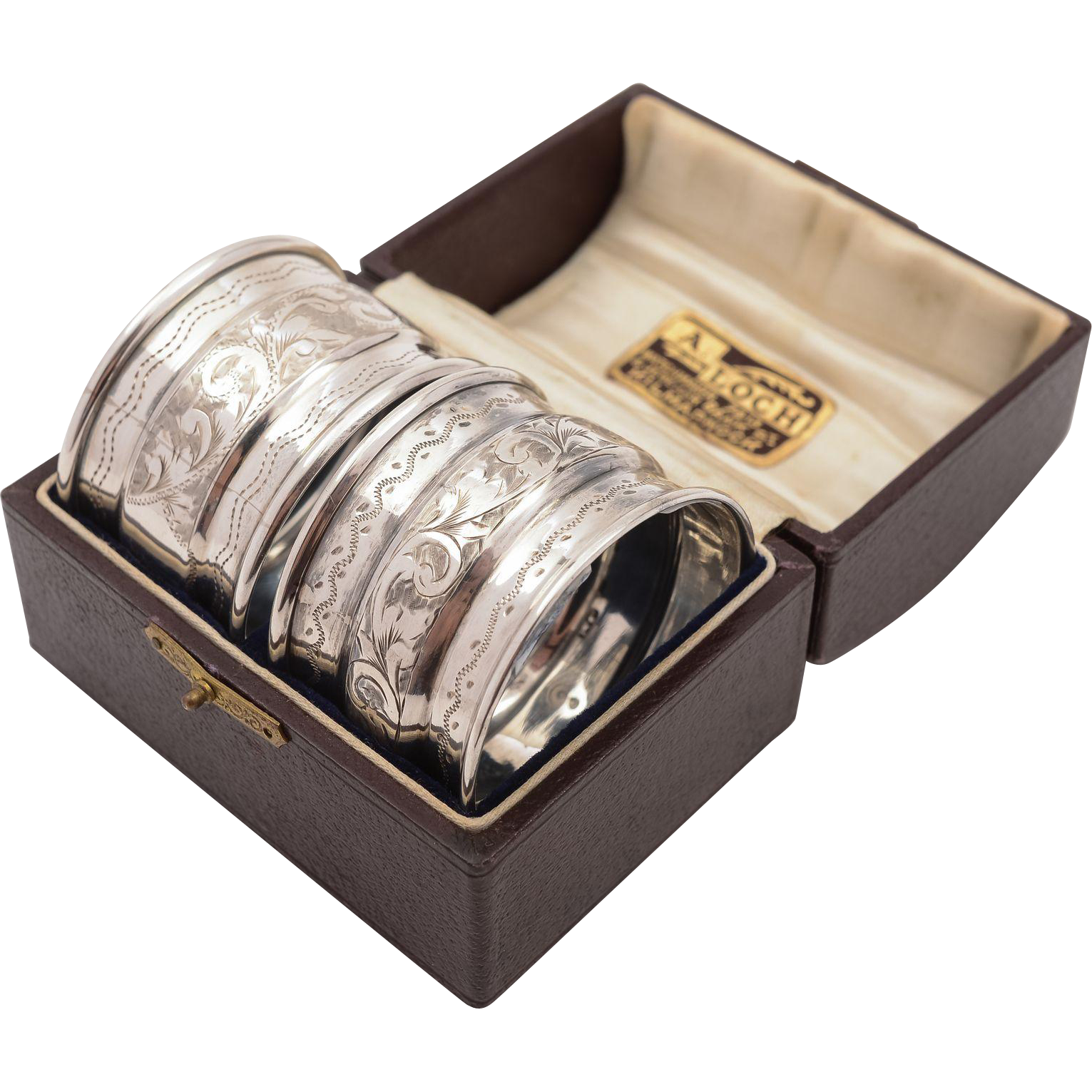 Cased Matched Pair of Silver Napkin Rings, Chester 1910