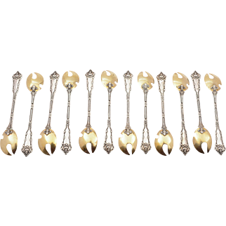 Set of 12 French Silver Oyster Forks, Circa 1900