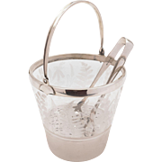 20th Century Glass and Silver Plated Ice Bucket, Circa 1920
