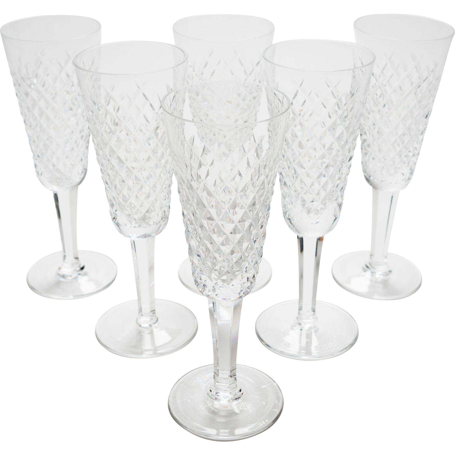 Set of 6 Vintage Waterford Chrytsal Champagne Flutes, Circa 1980