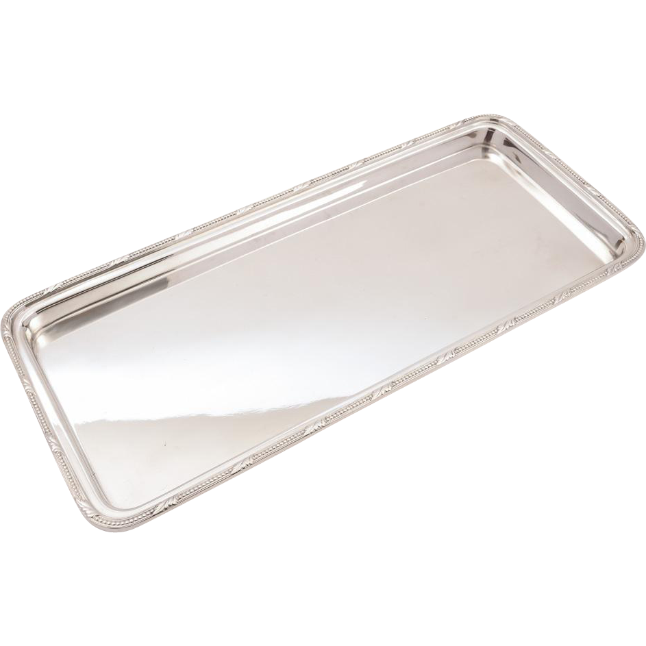 Art Deco Oblong Silver Plated Serving Tray, Circa 1930