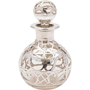 American Glass and Silver Overlay Scent Bottle