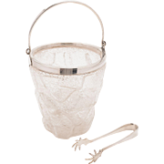 Glass and Silver Plated Ice Bucket, Circa 1930