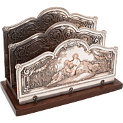 French Silver on Copper Letter Rack, Circa 1920