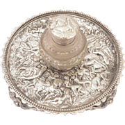 Victorian Silver Plated and Glass Ink Stand, Circa 1880