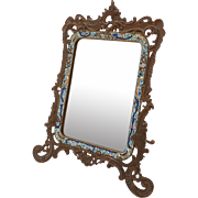 French Bronze/Brass and Enamel Mirror, Circa 1880