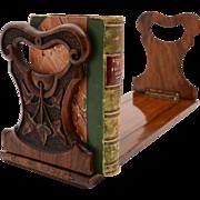 Victorian Carved Walnut Book Slide, Circa 1890