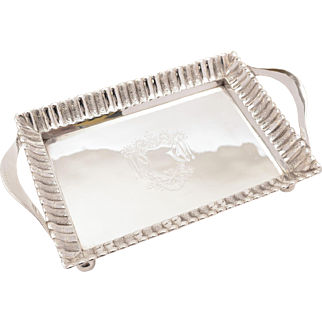 English Victorian Silver Plated Drinks Tray, Circa 1880