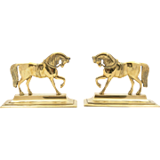 Pair of Victorian Brass Horse Ornaments, Circa 1880