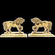 Pair of Victorian Brass Horse Ornaments, Circa 1880