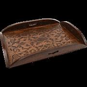 Edwardian Carved Walnut Butlers Tray, Circa 1905