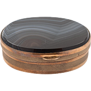 Agate and Brass Oval Snuff Box, Circa 1900