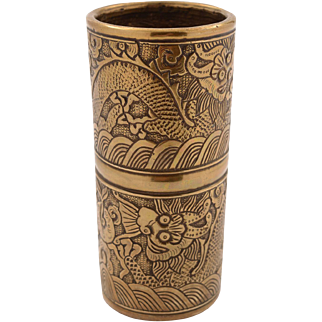 Chinese Brass Brush Pot, Circa 1900