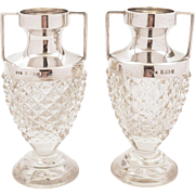 Pair of Cut Glass Silver Topped Vases, Birmingham 1900