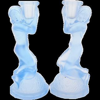Pair of Art Deco Blue Glass Candlesticks, Circa 1930