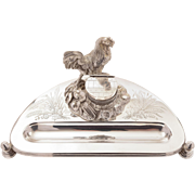 Victorian Novelty Silver Plated Ink Stand, Circa 1880