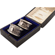 Cased Pair of Edwardian Silver Napkin Rings, Birmingham 1904