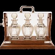 Victorian 3 Bottle Tantalus, Circa 1880