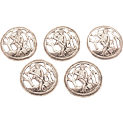 Victorian Set of 5 Silver Buttons, London 1897