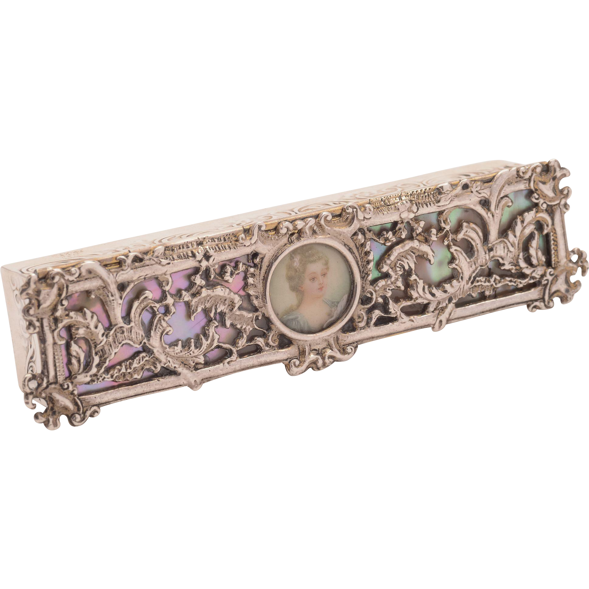 Victorian Silver and Mother of Pearl Makeup Box, Birmingham 1893