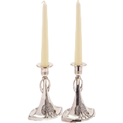 Pair of WMF Pewter Candlesticks, Circa 1900