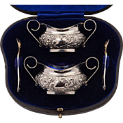 Cased Pair of Edwardian Silver Salts, Sheffield 1902