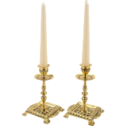 Pair of Victorian Brass Tray Based Candlesticks, Circa 1890