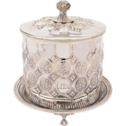 Victorian Silver Plated Biscuit Box/Cookie Jar, Circa 1880
